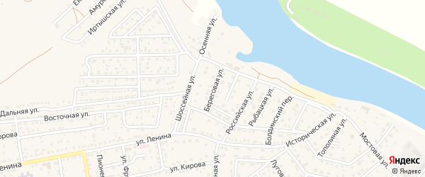 Береговая улица на карте села Началово с номерами домов