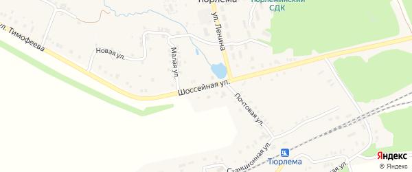 Шоссейная улица на карте деревни Старой Тюрлемы с номерами домов
