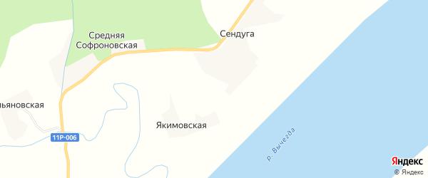 Карта Якимовской деревни в Архангельской области с улицами и номерами домов