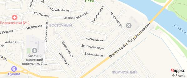 Абонентский ящик Сиреневая на карте Астрахани с номерами домов