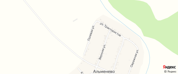 Полевая улица на карте деревни Альменево с номерами домов