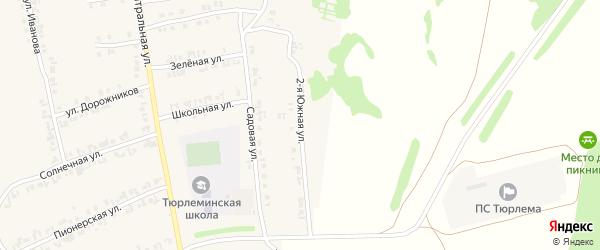 Южная 2-я улица на карте станции Тюрлемы с номерами домов