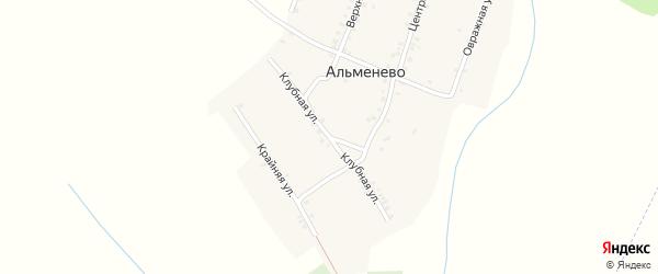 Клубная улица на карте деревни Альменево с номерами домов