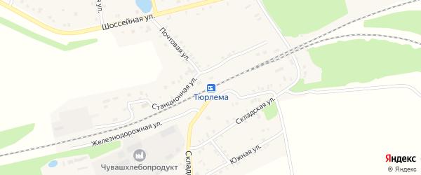 Заготзерновская улица на карте станции Тюрлемы с номерами домов