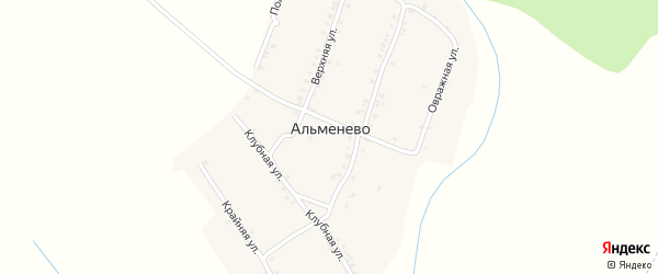 Крайняя улица на карте деревни Альменево с номерами домов