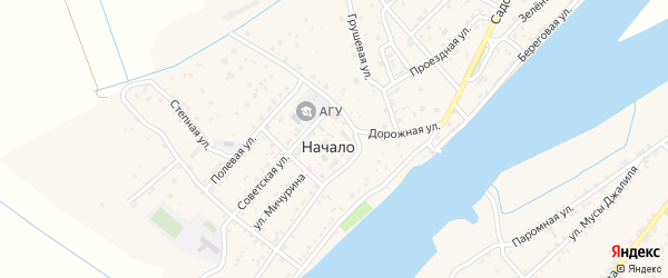 Проездная улица на карте поселка Начала с номерами домов