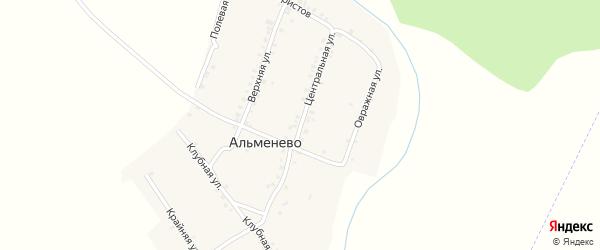 Центральная улица на карте деревни Альменево с номерами домов