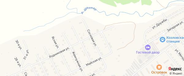 Сосновая улица на карте Козловки с номерами домов