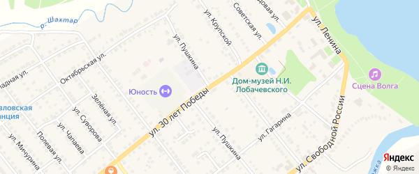Улица Пушкина на карте станции Тюрлемы с номерами домов