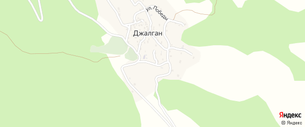 Школьная улица на карте села Джалгана с номерами домов