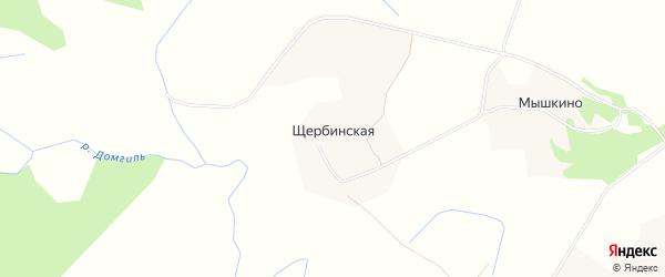 Карта Щербинской деревни в Архангельской области с улицами и номерами домов