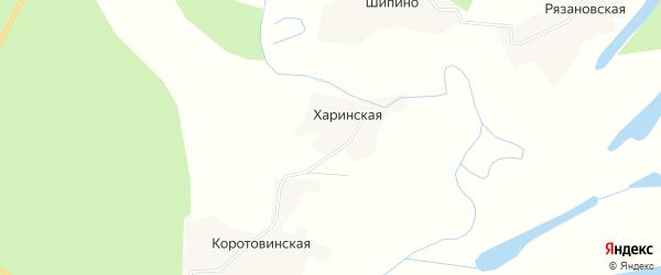 Карта Харинской деревни в Архангельской области с улицами и номерами домов