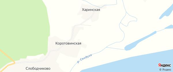 Карта Коротовинской деревни в Архангельской области с улицами и номерами домов