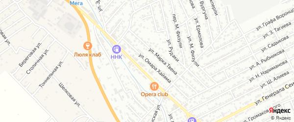 Улица Омара Хайяма на карте Дербента с номерами домов