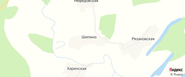 Карта деревни Шипино в Архангельской области с улицами и номерами домов