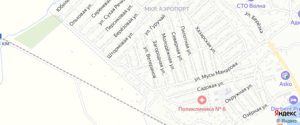 Улица Ветеранов на карте Дербента с номерами домов
