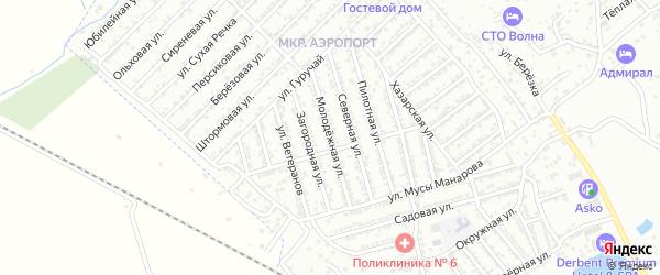 Молодежная улица на карте Дербента с номерами домов