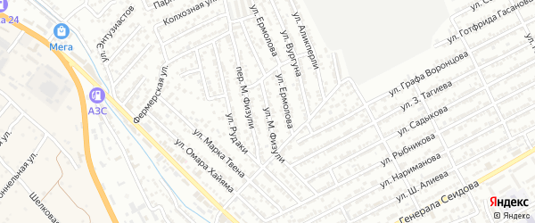 Улица М.Физули на карте Дербента с номерами домов
