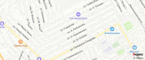 Улица Рыбникова на карте Дербента с номерами домов