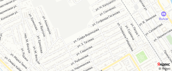 Улица Графа Воронцова на карте Дербента с номерами домов