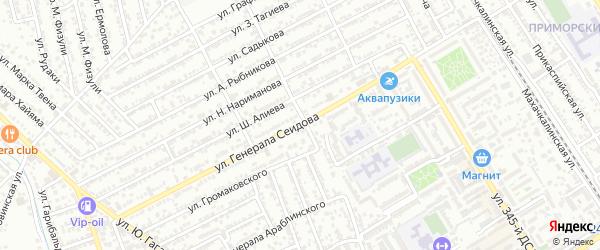 Улица Генерала Сеидова на карте Дербента с номерами домов