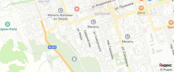 Средний переулок на карте Дербента с номерами домов