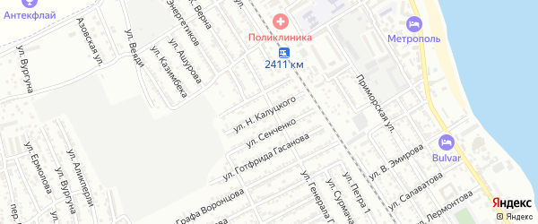 Улица Н.Калуцкого на карте Дербента с номерами домов