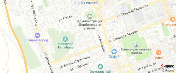 Переулок Л.Толстого на карте Дербента с номерами домов