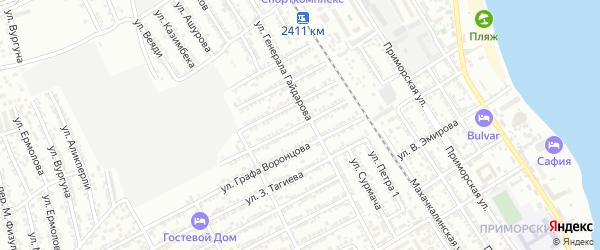 Улица Готфрида Гасанова на карте Дербента с номерами домов