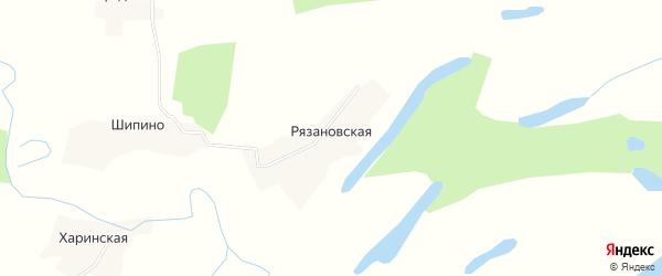 Карта Рязановской деревни в Архангельской области с улицами и номерами домов