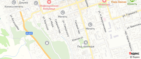 Октябрьский переулок на карте Дербента с номерами домов