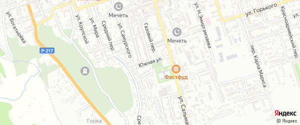 Южная улица на карте Дербента с номерами домов