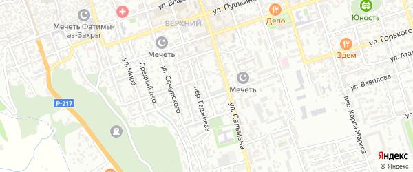 Газовый переулок на карте Дербента с номерами домов
