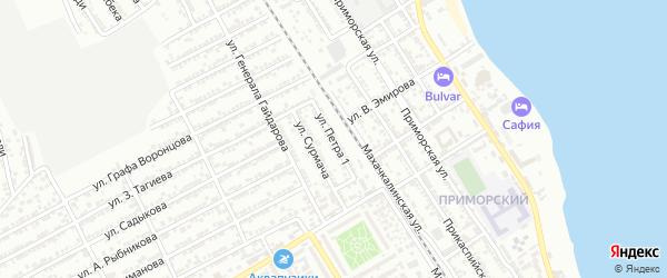 Линейная 1-я улица на карте Дербента с номерами домов
