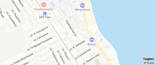 Улица Н.Некрасова на карте Дербента с номерами домов