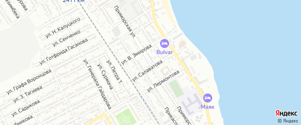 Приморская улица на карте Дербента с номерами домов