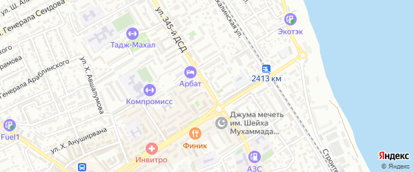 Улица 345 Дагестанской Стрелковой Дивизии на карте Дербента с номерами домов
