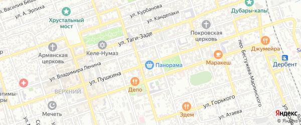 Улица Пушкина на карте Дербента с номерами домов