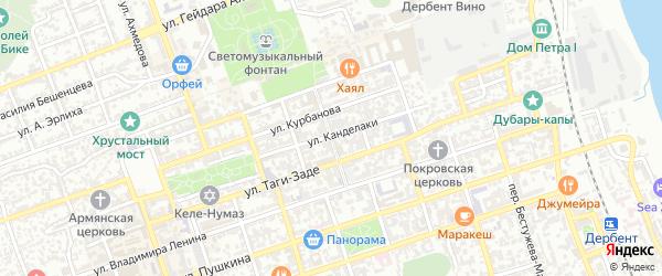 Улица Кази-Бека на карте Дербента с номерами домов