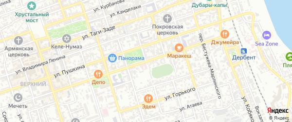 Переулок 25 лет Октября на карте Дербента с номерами домов