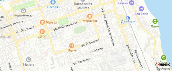 Красноармейский 1-й переулок на карте Дербента с номерами домов