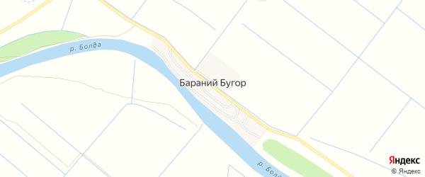 Карта села Бараньего Бугра в Астраханской области с улицами и номерами домов