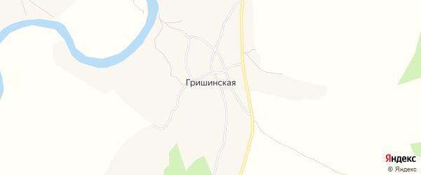 Карта Гришинской деревни в Архангельской области с улицами и номерами домов