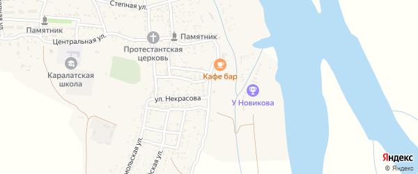 Набережная улица на карте села Каралат с номерами домов