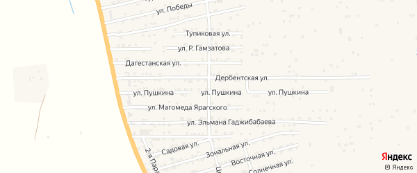 Центральная улица на карте села Джалгана с номерами домов