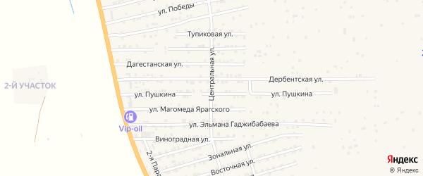 Центральная улица на карте села Нижнего Джалган с номерами домов