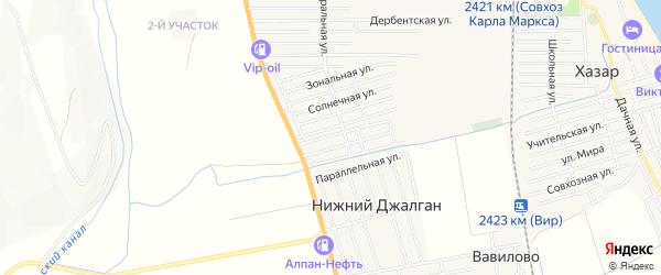 Карта села Нижнего Джалган в Дагестане с улицами и номерами домов