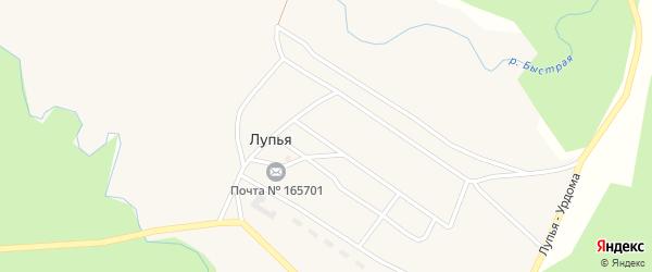 Переулок Ветеранов на карте поселка Лупья с номерами домов