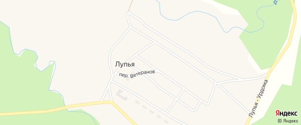Банная улица на карте поселка Лупья с номерами домов