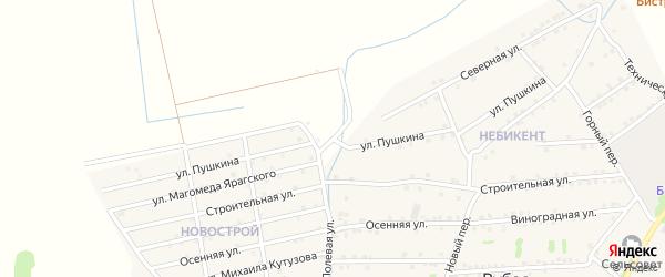 Улица Пушкина на карте села Уллу-Теркеме с номерами домов